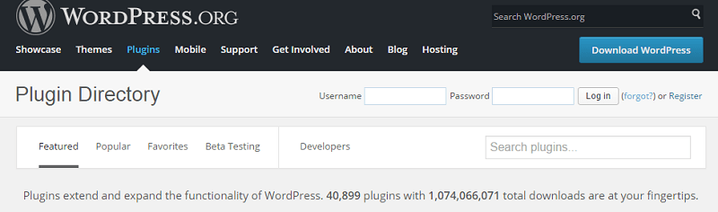 Wordpress plugins directory page screenshot