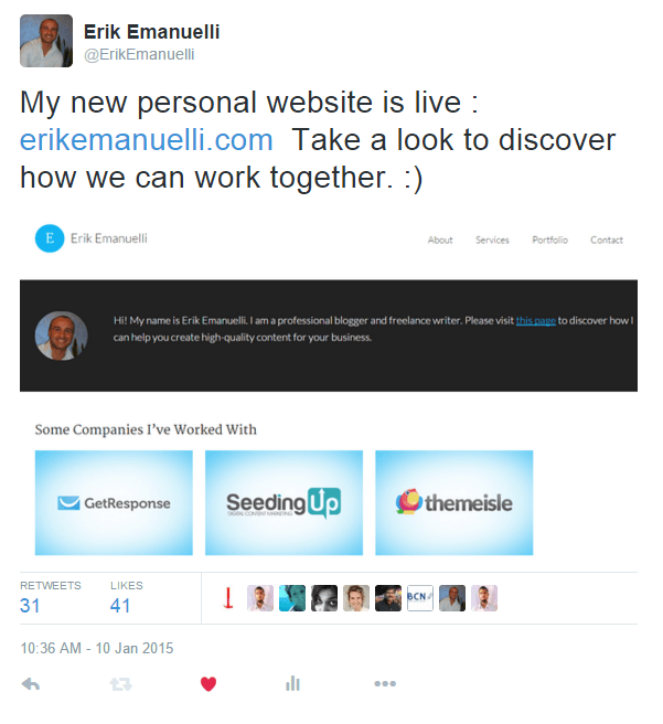 Erik Emanuelli tweet on offering freelance services