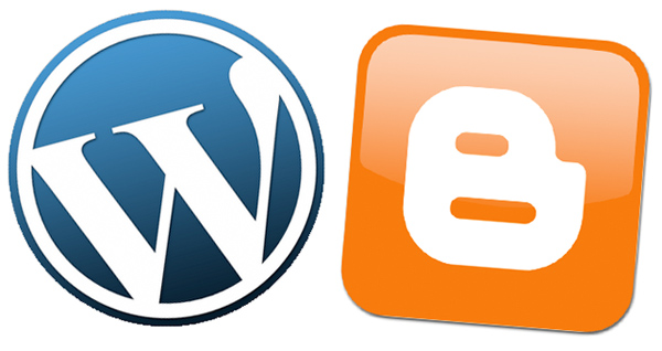 blogger and wordpress logos