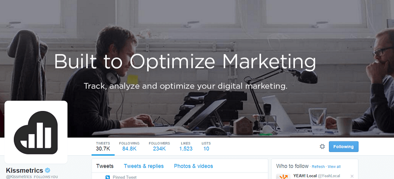 kissmetrics twitter profile