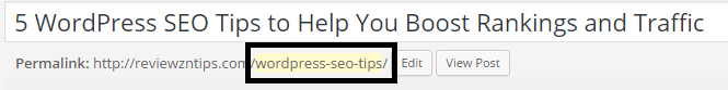 slug of 5 WordPress SEO tips blog post on ReviewznTips_com