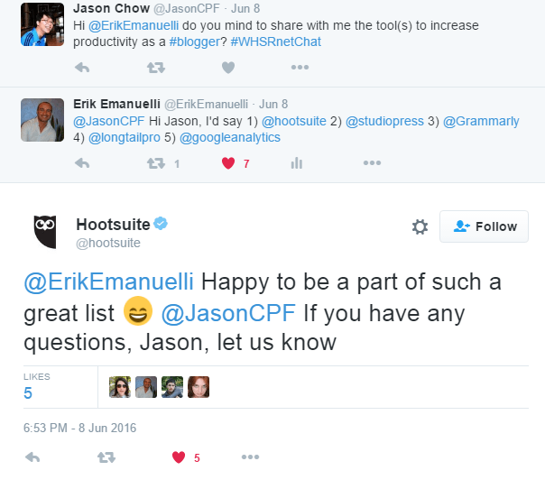interaction with HootSuite on Twitter